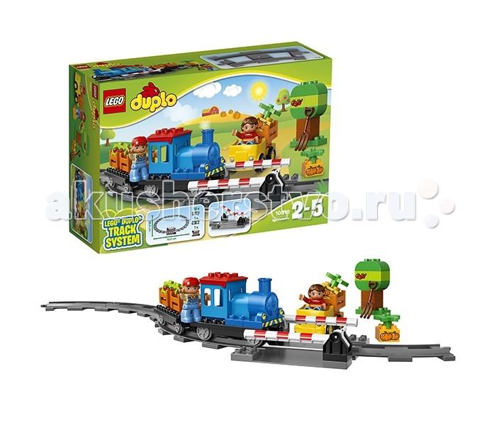 Конструктор Lego Duplo 10810 Лего Дупло ЛокомотивDuplo 10810 Лего Дупло ЛокомотивLego Duplo 10810 Лего Дупло Локомотив 45 деталей  Благодаря крупным ярким деталям, ребенок с легкостью сможет собрать небольшую железную дорогу. Сборный локомотив состоит из 2 поездов, он с легкостью передвигается по рельсам. Также в комплект входят 2 фигурки. Размер деталей идеально подходит для детских ручек, он также не позволит малышу подавиться ими.  2 фигурки: железнодорожный рабочий и девочка Сборный поезд с 2 вагонами 1 автомобиль Железнодорожные пути Переезд с шлагбаумом Аксессуары<br>