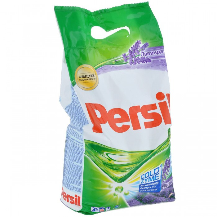 Persil Стиральный порошок Persil Лаванда 3 кгСтиральный порошок Persil Лаванда 3 кгСтиральный порошок Persil Лаванда - это стиральный порошок с инновационной формулой, которая содержит активные капсулы пятновыводителя. Эти капсулы быстро растворяются в воде и начинают действовать на пятно уже в самом начале стирки. Благодаря эксклюзивному компоненту, Persil отлично удаляет даже сложные пятна. Кроме того, он делает белье белоснежным и придает ему свежий цветочный аромат.  Подходит для стирки изделий из х/б, льняных, синтетических тканей и тканей из смешанных волокон в стиральных машинах-автоматах в воде любой жесткости.   Основные характеристики:  Размер упаковки: 32x23x10 см Вес в упаковке: 3040 г<br>