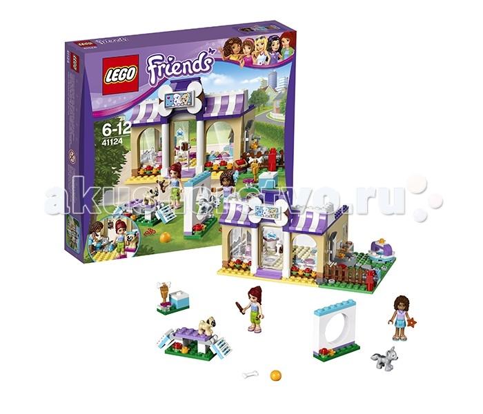 Конструктор Lego Friends 41124 Лего Подружки Детский сад для щенковFriends 41124 Лего Подружки Детский сад для щенковLego Friends 41124 Лего Подружки Детский сад для щенков 286 деталей  В наборе две минифигурки – Андрея и Мия, а также два прелестнейших щеночка – мопс Тофи и хаски Луна.  Из деталей набора вы можете собрать большой комплекс для собачек, включающий в себя игровую площадку, зону для груминга и зону для выгула. Пройдя через стеклянную дверь с надписью «Открыто» в центре здания, Вы попадаете в салон красоты для щеночков. Здесь Вы можете искупать Вашего питомца, причесать шерстку, украсить любимца нарядным бантиком. Также предусмотрено место для кормления и отдыха щенков и офисная зона. Из груминг-салона Вы попадаете на огороженный задний двор для выгула малышей. Там Вы найдете поводки, рукомойник, поилку с водой и разнообразные игрушки. Не забудьте убрать за любимым питомцем при помощи совка и ведра.  В качестве дополнения к основному сооружению из деталей набора собирается тренировочный комплекс для обучения и тренировки щенков – бум (мостик) и барьер-обруч. Самый смелый и ловкий щенок может получить приз – большой кубок, украшенный косточкой!  Минифигурки в этом наборе выполнены в традиционном для серии Lego Friends стиле – в виде мини-куколок. На этот раз это две подружки – Мия и Андрея. Мия одета в голубой топик с бабочками и зеленые шорты, а Андрея – в розовый топ и голубую юбочку.  Игровой функционал и особенности набора: Здание детского сада для щенков с груминг-зоной, офисом, кроватками для щенков, зоной кормления и площадкой для выгула Дрессировочная площадка с полосой препятствий Фонтан с питьевой водой Дополнительные игровые аксессуары - компьютер, телефон, щетка, собачий шампунь, бантики, миски, собачье печенье, косточки, ведро, собачьи игрушки, совок, кубок победителя, часы.<br>