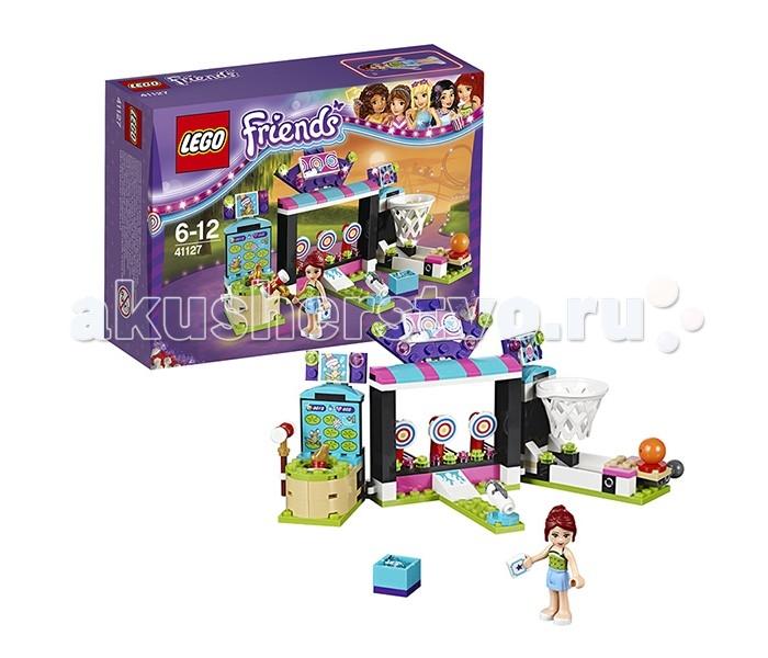 Конструктор Lego Friends 41127 Лего Подружки Парк развлечений: игровые автоматыFriends 41127 Лего Подружки Парк развлечений: игровые автоматыLego Friends 41127 Лего Подружки Парк развлечений: игровые автоматы 174 деталей  Этот небольшой, но многофункциональный игровой сет будет отлично смотреться на полке как отдельно и самостоятельно, так и в качестве дополнения к наборам «Парк развлечений: Американские горки», «Парк развлечений: Фургон с хот-догами» и «Парк развлечений: Космическое путешествие».  Из деталей набора вы можете собрать развлекательный комплекс, состоящий из трех игровых автоматов – лягушка, по которой нужно попасть молотком, тир с мишенями и водяной пушкой и баскетбольная корзина. В левой части игрового комплекса располагается автомат-колотушка, стилизованный под болотце с кувшинками, из которого появляется лягушка и сразу же исчезает. Развивай ловкость и скорость реакции, чтобы выиграть приз! Центральная часть комплекса – это большой тир с тремя круглыми мишенями, в которые нужно попасть из водяного пистолета. Водяные бомбочки-заряды для пушки Вы найдете в ярко-голубом ящике неподалеку от аттракциона. И, наконец, в левой части комплекса расположено баскетбольное кольцо со спусковым механизмом и мячом. Установи мяч, активируй пусковое устройство и отправь мяч прямиком в корзину!  В комплект набора входит традиционная для серии Лего Френдс минифигурка в виде куколки, на этот раз это спортсменка, любительница животных и зоозащитница Мия. Она одета в короткую голубую юбочку и зеленый топик – отличный наряд для выходного дня в парке развлечений!  В наборе: 1 фигурка - Мия в классическом летнем наряде 3 классических игровых автомата: баскетбольное кольцо со спусковым механизмом, 3 цели, в которые можно попасть с помощью водяного пистолета со спусковым механизмом и лягушка, по которой нужно попасть молотком. Аксессуары: билет в парк, водяные бомбочки, молоток, баскетбольный мяч.  Количество деталей: 174 Возраст: 6-12<br>