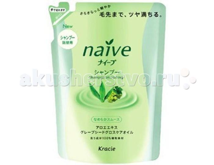 Kracie Naive Шампунь для волос с экстрактом Алоэ запасной блок 400 мл