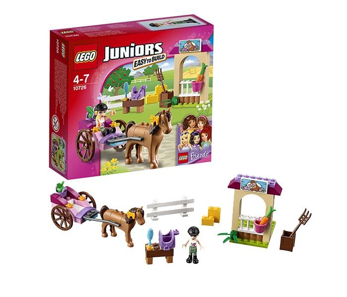 Конструктор Lego Juniors 10726 Лего Джуниорс Карета СтефаниJuniors 10726 Лего Джуниорс Карета СтефаниLego Juniors 10726 Лего Джуниорс Карета Стефани 58 деталей  В этой замечательной конюшне ты можешь поухаживать за прелестной лошадкой - расчесать ей гриву и хвостик, покормить яблоком, а затем запрячь в карету и покатать в ней Стефани! Предпочитаешь кататься верхом? Не беда, ведь у тебя есть седло! Ну а после прогулки отведи лошадь обратно в конюшню и не забудь покормить.  В наборе: 1 мини-фигурка: Стефани Конюшня с забором Лошадь Аксессуары: ведро, вилы, седло, щетка, морковка, яблоко, бантик.   Количество деталей: 58 Возраст: 4-7 лет<br>