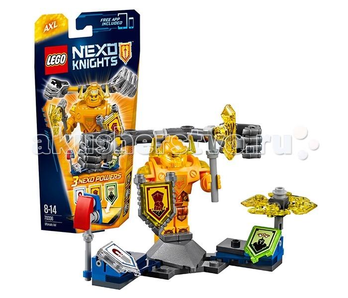Конструктор Lego Nexo Knights 70336 Лего Нексо Аксель-Абсолютная силаNexo Knights 70336 Лего Нексо Аксель-Абсолютная силаLego Nexo Knights 70336 Лего Нексо Аксель-Абсолютная сила 69 деталей  После сборки Вы получите небольшой постамент, разделённый на 3 секции. По центру устанавливается фигурка Акселя со щитом и топором и двумя мощными механическими кулаками за спиной. Справа и слева по одной дополнительной нексо силе и аксессуару: магнит и булава.  Фигурка Акселя выполнена в приятном жёлтом цвете. На теле и ногах нанесены принты. Поскольку Аксель вырос в маленьком городке рудокопов, он отличается своей безудержной силой и отменным аппетитом, что конечно же отразилось на его фигуре — торсик фигурки в 2 раза больше обычного. Кроме тренировок он увлекается компьютерным играми и учится играть на электролютне.  Всего в набор входит 3 дополнительные Nexo-силы, которые можно использовать в приложении для мобильных устройств.  Количество деталей: 69 Возраст: 8-14 лет<br>