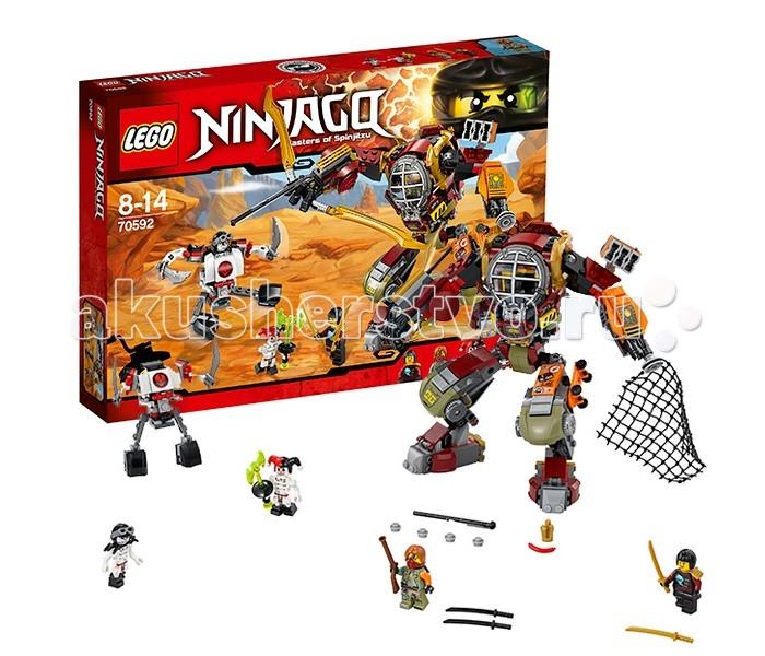 Конструктор Lego Ninjago 70592 Лего Ниндзяго Робот-спасательNinjago 70592 Лего Ниндзяго Робот-спасательLego Ninjago 70592 Лего Ниндзяго Робот-спасатель 439 деталей  Ронан и Ния должны сразиться с Крэйзи и Фрэйкжоу - воинами Самукая. Ронан управляется огромным роботом, но и у его противников есть свой робот, правда, гораздо меньше. Он, также, напоминает скелет, собирается из белых и серых деталей с красными элементами. Руки и ноги робота подвижны, нагрудная пластина откидывается - внутрь можно посадить фигурку.  Механический робот Ронана достаточно большой, собирается из разноцветных деталей - красного, зеленого, желтого, белого и черного. Робот очень подвижный, благодаря своей шарнирной конструкции. У него сгибаются руки в локтях, пальцы, поворачивается торс. Кабина пилота защищена решеткой, напоминающей батискаф. Среди деталей, из которых состоит броня робота, множество интересных элементов - например, китайские головные уборы.  Вооружение робота Ронана. На левой руке закреплено пусковое устройство с сетью - при нажатии на кнопку, сеть вылетает. На другой руке расположена мини-пушка, выстреливающая пружинной ракетой. На спине робота закреплены парные позолоченные мечи, которые раскладываются, превращаясь в мощный лук. Его робот может держать в руке. В этом случае, при выпуске пружинной ракеты возникнет ощущение, будто робот выстрелил из лука. Также, это оружие закрепляется на флаере Ронана.  Дополнительные функции и отсеки. На левом плече робота закреплен ящик, в котором Ронан хранит добычу и необходимые вещи. На ноге робота закреплен красивый скейтборд Нии. На спине робота вы найдете небольшой флаер, который можно легко снять. На флаере закрепляются парные клинки (те самые, которые превращаются в лук робота).  Минифигурка Ронана из набора уникальна - ранее с такими принтами она не встречалась.  Минифигурки Крэйзи и Фрэйкжоу очень редкие, к тому же, в этом наборе у них новые костюмы. Ранее эти персонажи встречались только в наборах из самой первой серии Лего Ниндзя