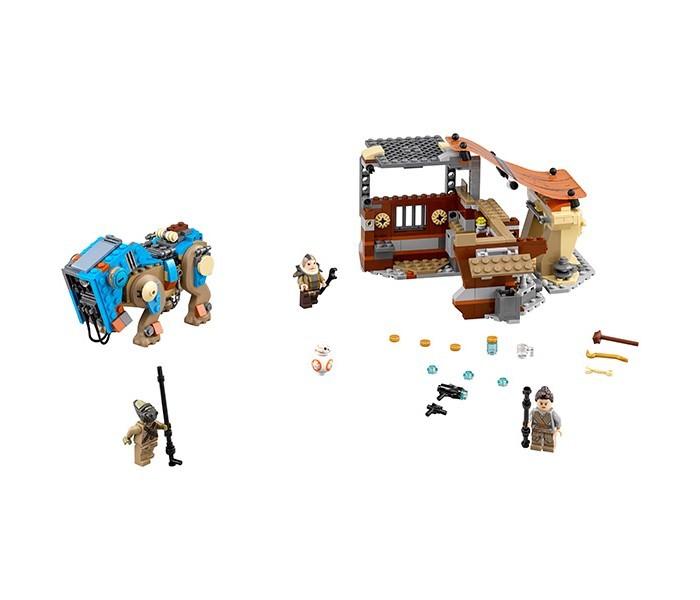 Конструктор Lego Star Wars 75148 Лего Звездные Войны Столкновение на ДжаккуStar Wars 75148 Лего Звездные Войны Столкновение на ДжаккуLego Star Wars 75148 Лего Звездные Войны Столкновение на Джакку 530 деталей  Этот набор посвящен событиям фильма Звездные войны Эпизод VII: Пробуждение силы. С помощью него Вы можете воссоздать события, происходившие в начале фильма, и даже изменить ход истории.  Мусорщица Рей живет на планете Джакку, где добывает себе пропитание, лазая по обломкам имперских крейсеров и сдавая ценные элементы, найденные в них, на заставе Ниима. Ункар Платт — ростовщик с заставы, который меняет еду и воду на найденные части кораблей. Прибыв после успешного рейда к Ункару, Рей замечает другого мусорщика Тидо, прибывшего на шагоходе, который поймал астродроида с истребителя сопротивления BB-8. С помощью своего электрического посоха она освобождает беднягу, а потом отказывается от целого состояния за него, предложенного Платтом.  После сборки Вы получите пункт приема «мусора», состоящий из двух секций, шагоход Тидо, а также множество аксессуаров: еду, воду, инструменты и предметы быта.  4 минифигурки: Рей, BB-8, Тидо и Ункар Платт Шагоход Тидо с подвижными конечностями и головой Здание на заставе раскладывается Множество аксессуаров.  Количество деталей: 530 Возраст: 8-14 лет<br>
