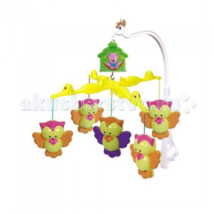 Мобиль Henglei  Совята музыкальныйСовята музыкальныйМузыкальный мобиль Совята с заводным механизмом обязательно понравится детишкам.  Помогает им в развитии фиксирования зрения на движущихся предметах, улучшает засыпание. Цветные игрушки привлекут его внимание, а звук мелодии позволит ребёнку успокоиться.   Характеристики: пластиковые игрушки - совята-погремушки музыкальный блок без регулировки звука, одна мелодия с заводным механизмом выполнены из безопасных материалов высокого качества<br>