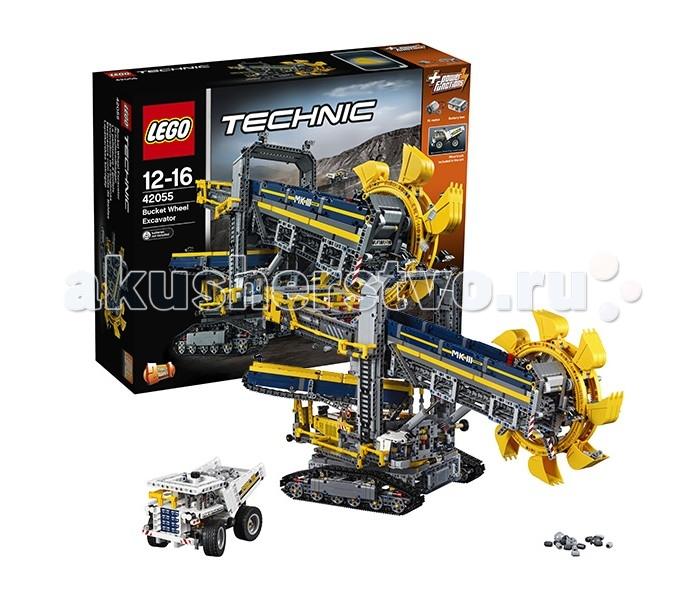 Конструктор Lego Technic 42055 Лего Техник Роторный экскаваторTechnic 42055 Лего Техник Роторный экскаваторLego Technic 42055 Лего Техник Роторный экскаватор 3927 детали  После сборки мы получим огромный роторный экскаватор и карьерный самосвал, который на фоне экскаватора не выглядит таким уж большим. Платформа с гусеничным ходом позволяет технике перемещаться по любому типу грунта, пусть и с не очень высокой скоростью. Основная задача такой техники — разработка грунтовых пород с помощью ковшей, закрепленных на большом колесе. После добычи они попадают на специальную ленту, которая доставляет их в кузов самосвала.  Кабина и стрела с рабочим механизмом роторного экскаватора установлена на поворотном столе, который вращается на 360 градусов. Справой стороны видна кабина с элементами управления техникой. Рабочий механизм с ротором может подниматься и опускаться.  В модели используются детали серого, желтого, белого и синего цвета, что делает его ярким и необычным. Карьерный самосвал собирается из белых деталей.  За функциональную часть в модели отвечают детали Power Functions — двигатель размера XL и батарейный блок.  Количество деталей: 3927 Возраст: 12-16 лет<br>