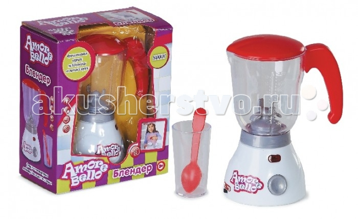 Amore Bello Детский блендерДетский блендерБлендер Amore Bello - увлекательная игрушка для игры в кафе или хозяюшку.   Игрушка оснащена световыми и звуковыми эффектами, имеет функцию взбивания.  Игрушка выполнена из прочного пластика, безопасного для ребёнка. Такой блендер станет прекрасным дополнением для детской кухни.<br>