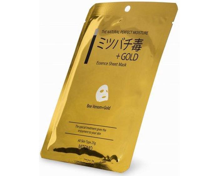 Mitomo Маска для лица Пчелиный яд + Золото, восстанавливающая для чувствительной кожи 25 г