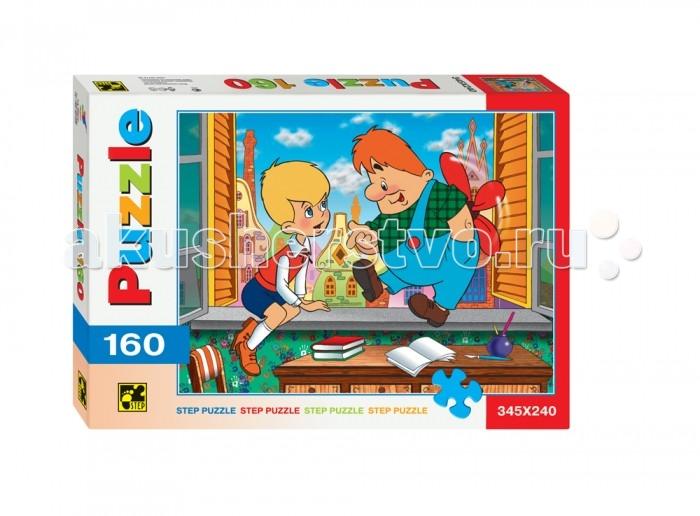 Step Puzzle Пазлы Малыш и Карлсон 160 элементовПазлы Малыш и Карлсон 160 элементовStep Puzzle Пазлы Малыш и Карлсон 160 элементов  Малыш и Карлсон — совершенно непохожие друг на друга персонажи, что не помешало им подружиться! Соберите головоломку от Step Puzzle — красочную картинку с изображением двух героев! Она контрастная и яркая, с разнообразными деталями рисунка, что делает пазл приятным и легким для сборки. Начинайте от краев, собрав рамку, затем соберите ключевые участки — Малыша и Карлсона, и постепенно заполняйте все поле пазла. Элементы головоломки изготовлены из высококачественного прочного картона.  Возраст: от 6 лет Количество деталей: 160 Размер картинки: 34.5 х 24 см<br>