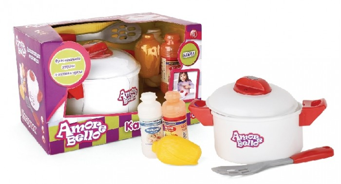 Amore Bello Набор детской посуды с кастрюлейНабор детской посуды с кастрюлейПосуда от компании Amore Bello - великолепный подарок для любой маленькой хозяюшки.   Эта кастрюлька выглядит как настоящая и даже издает звуки приготовления пищи.  В набор также входят: аксессуары в виде специй, лопатки для готовки, овощей.  Изделие выполнено из высококачественных материалов яркого цвета и непременно принесет вашей малютке радость и удовольствие и займет ее на много часов.  Игрушка выполнена из прочного пластика, безопасного для ребёнка.<br>