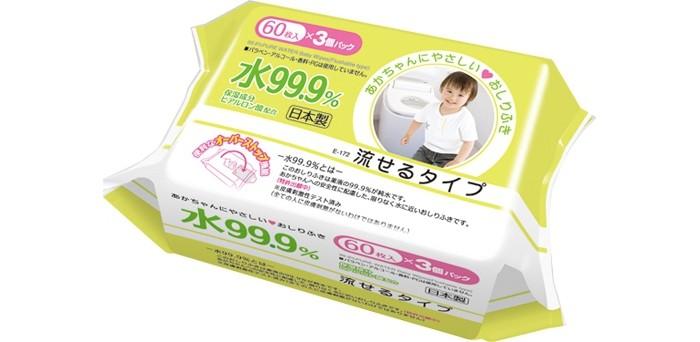 iPlus Детские влажные салфетки 99,9% воды смывающиеся в унитазе мягкая упаковка 60 шт.