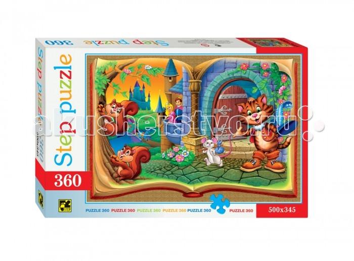 Step Puzzle Пазл Кот в сапогах 360 элементовПазл Кот в сапогах 360 элементовStep Puzzle Пазл Кот в сапогах 360 элементов  Пазл Кот в сапогах создан по мотивам одноименной детской сказки. Собрав все детальки пазла у вас получится красочная картинка на которой изображен главный персонаж сказки. Элементы пазла размером 1.5 х 1.5 см выполнены из плотного картона с глазурированной поверхностью, с легкостью соединяются между собой не деформируясь и не расслаиваясь при этом. Процесс сборки пазла необычайно увлекателен и интересен, собирать картинку-пазл будет интересно как детям, так и взрослым. Собранную картинку можно склеить скотчем или клеем, а затем повесить на стенку или поставить на стол.  Возраст: от 6 лет Количество деталей: 360 Размер игрушки: 50 х 34.5 см.<br>