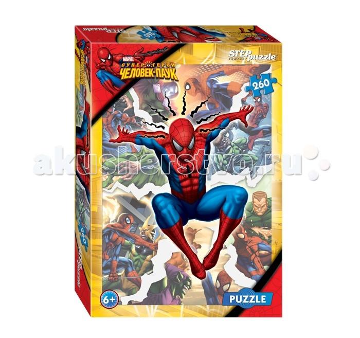 Step Puzzle Пазл Человек-паук 260 элементовПазл Человек-паук 260 элементовStep Puzzle Пазл Человек-паук 260 элементов  Пазл с супергероем Человеком-Пауком придется по душе юным любителям популярного комикса, мультфильма и фильма с одноименным названием! Пазл имеет множество деталей с разными героями и не имеет сложных для сборки однотонных объектов. Головоломка от Step Puzzle — занимательная интеллектуальная разминка и веселое времяпровождение! Элементы пазла изготовлены из высококачественного прочного картона.  Возраст: от 6 лет Количество деталей: 260 Размер картинки: 34.5 х 24 см<br>