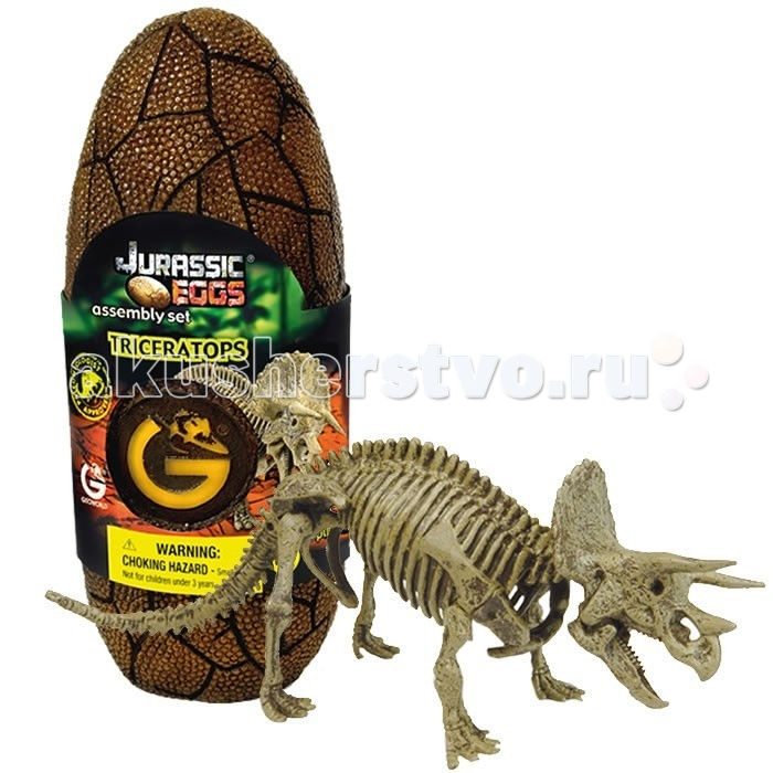 Конструктор Geoworld Сборная модель динозавра в яйце Jurassic eggs - Трицератопс?талейТрицератопс обладает характерной, легко узнаваемой внешностью. Его голова украшена большими пластинами и тремя рогами. Несмотря на то, что динозавр относится к растительноядным, он все же был очень опасным существом, и хорошо защищался от хищников. Из этого набора ребенок сможет своими руками собрать настоящий мини-экспонат музейного качества — скелет трицератопса. Сборка осуществляется из качественных предварительно окрашенных деталей. Они упакованы в стилизованное яйцо. Сборка палеонтологической модели подогреет интересы юного ученого, позволит тренировать моторику, пространственное мышление и внимательность.  Основные характеристики:  Размер коробки: 7.5 х 19.5 х 7 см Длина собранной модели: 21 см Количество деталей: 12 шт.<br>
