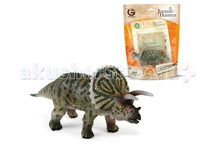 Geoworld Фигурка динозавра Jurassic Hunters - ТрицератопсФигурка динозавра Jurassic Hunters - ТрицератопсФигурка трицератопса из серии Jurassic Hunters — это качественно проработанная масштабная модель динозавра. Она раскрашена вручную, имеет высокую степень достоверности. К фигурке прилагается буклет с описанием породы динозавров, который сможет удовлетворить научные интересы юного палеонтолога. Интересный факт: компанией Geoworld управляет доктор палеонтологии Стефано Пичинни, который лично участвует в разработке каждой выпускаемой фигурки или модели.  Комплект:   Фигурка динозавра;  Страница с научной информацией о динозавре; Мини-буклет с указанием полной коллекции Jurassic Hunters (Охотников за Динозаврами).   Основные характеристики:  Размер упаковки: 34 х 21 х 8 см Длина самой игрушки: 17 см<br>