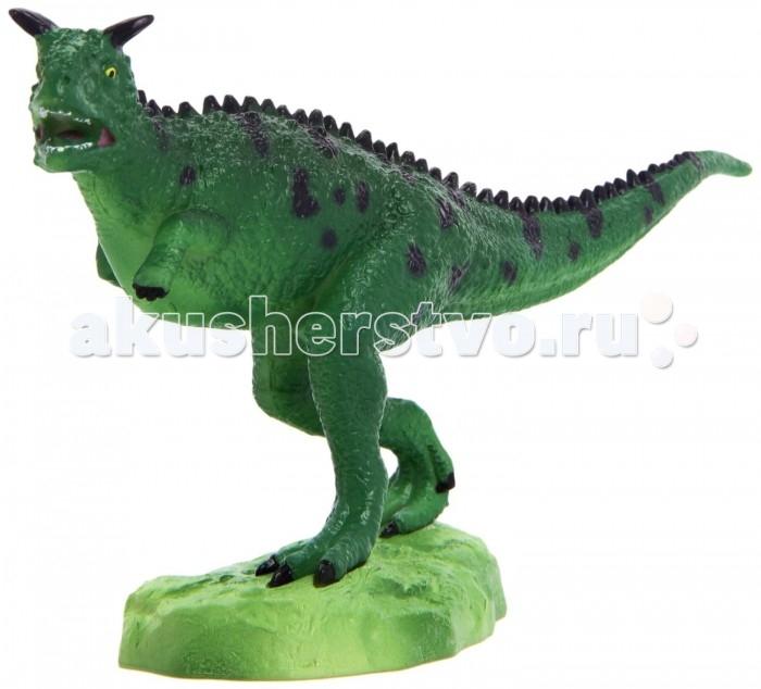 Geoworld Фигурка динозавра Jurassic Hunters - КарнотаврФигурка динозавра Jurassic Hunters - КарнотаврФигурка Карнотавр из коллекции Jurassic Hunters — качественная, аккуратно раскрашенная масштабная модель древнего вымершего ящера. Карнотавр похож на быка, благодаря своим особым рогам на черепе. Более подробную информацию о динозавре ребенок сможет узнав, прочитав красочный буклет с научной информацией, который имеется в комплекте с фигуркой. Модель составлена на основе передовых теорий палеонтологии. Она может использоваться как для игр, так для коллекционирования, стимулирует научный интерес ребенка.  Комплект:   Фигурка динозавра;  Страница с научной информацией о динозавре; Мини-буклет с указанием полной коллекции Jurassic Hunters (Охотников за Динозаврами).   Основные характеристики:  Размер упаковки: 34 х 21 х 8 см Длина самой игрушки: 18 см<br>