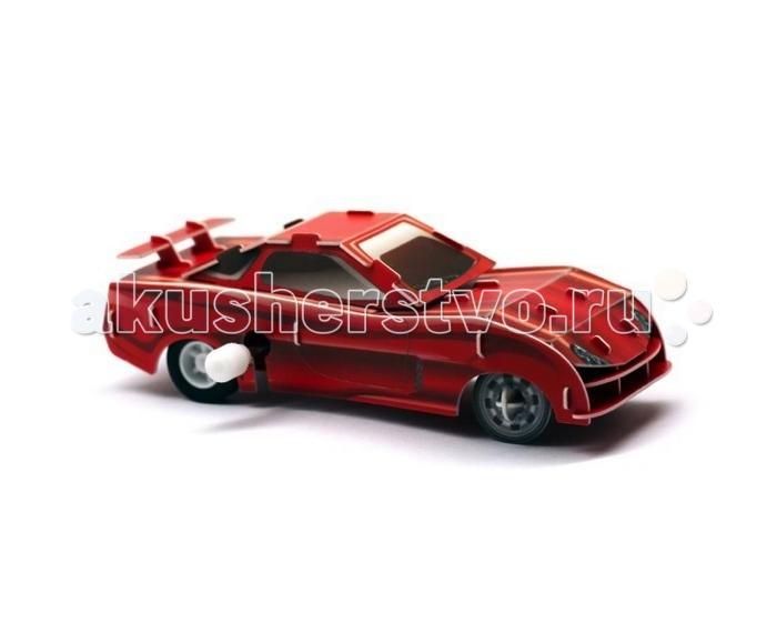 Конструктор UF Заводной 3D-пазл Красный гонщикЗаводной 3D-пазл Красный гонщик3D-пазл Красный гонщик продается вместе с заводным механизмом, которым вы оснастите машинку в процессе сборки. Собирается пазл очень просто и для этого вам даже не понадобится клей. Детали просто вставляют в пазы, держатся они весьма крепко, поэтому автомобиль подходит для активной игры. Особенно интересно устраивать гонки с другими машинками, которые оснащены либо заводным либо инерционным механизмом.  Комплект:   Детали для сборки;  Заводной механизм;  Основные характеристики:  Размер упаковки: 13.5 x 12.5 x 2 см Вес: 50 г<br>
