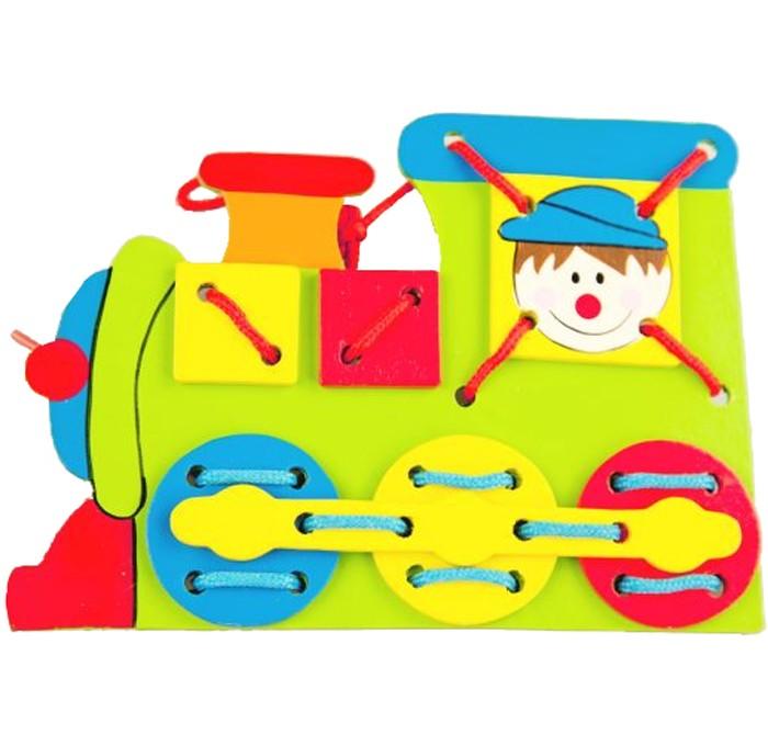 Деревянная игрушка Mapacha Шнуровка Паровоз