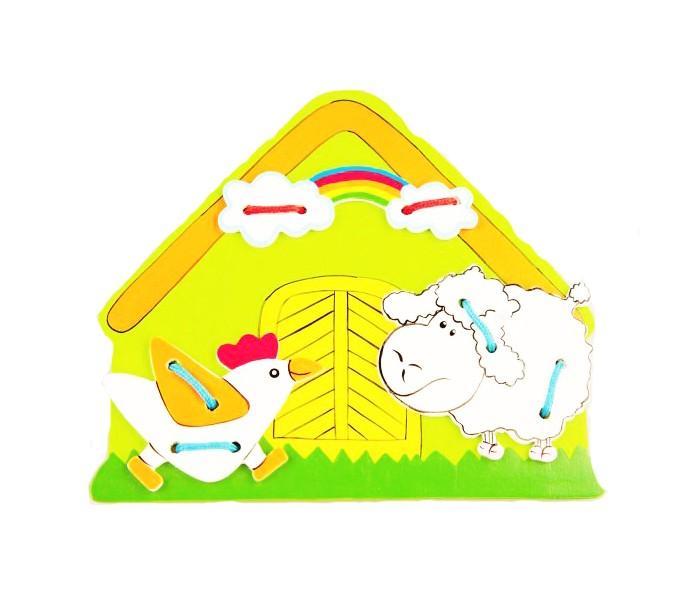 Деревянная игрушка Mapacha Шнуровка ФермаШнуровка ФермаДеревянная игрушка Mapacha Шнуровка Ферма представляет собой занимательную игрушку, которая состоит из основной фигуры домика и фигурных деталей игры.  Особенности:  Детали необходимо прикрепить к основе при помощи шнурка. Игрушка развивает творчество, логику и память. Когда ребенок пришнуровывает детали, он ассоциирует и связывает в уме цвета, названия, может, например, рассказать сказку по порядку. Яркий цвет и натуральный материал также функциональны и полезны для развития ребенка.  Внимание! Цвет игрушки варьируется без возможности выбора и может отличаться от представленного на фото.<br>