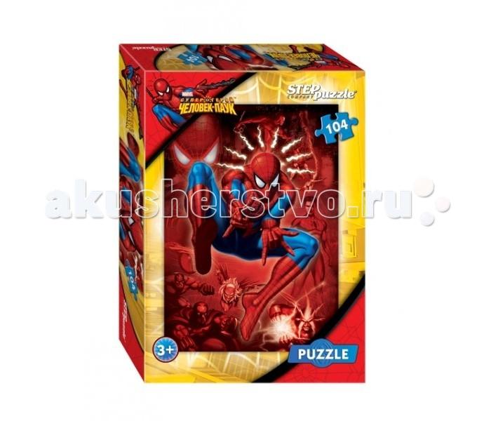 Step Puzzle Пазл Человек-паук 104 элементаПазл Человек-паук 104 элементаStep Puzzle Пазл Человек-паук 104 элемента  Он сделан из плотного картона, что обеспечивает безопасное и долговечное использование игры для детей от 3 лет. Яркая картинка увлечет ребенка и процесс сборки пазла станет для него интересной игрой, которая поможет развить ему внимательность и логическое мышление. А после того, как картинка будет собрана, ее можно будет повесить на стенку. Любимый с детства супергерой Человек-Паук порадует любого маленького мальчика.  Возраст: от 5 лет Количество деталей: 104 Размер картины: 33 х 23 см<br>