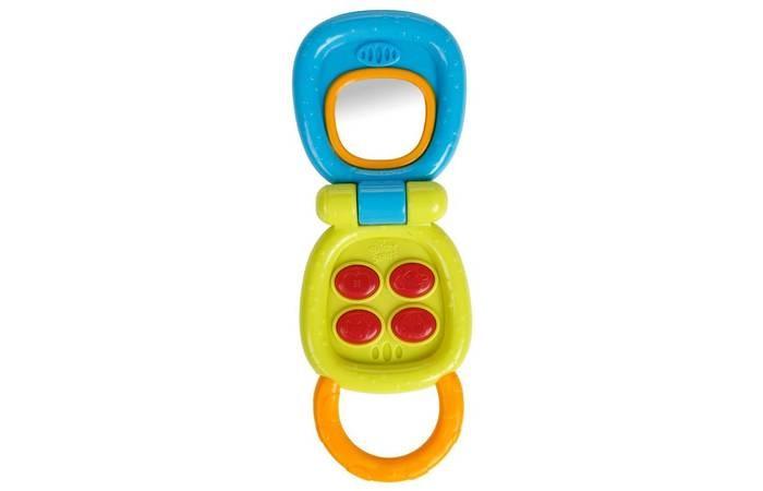 Развивающая игрушка Bright Starts Маленький телефончикМаленький телефончикBright Starts Развивающая игрушка Маленький телефончик 10225  Первый телефон малыша поможет развитию звуковых, слуховых и тактильных навыков!   Особенности:  4 мигающие кнопки при нажатии активируют забавные звуки.  Безопасное зеркальце помогает малышу в познании себя.  Удобная ручка для маленьких ручек.   Дополнительные характеристики:  Размеры товара: 6.35 см x 2.79 см x 17.27см<br>