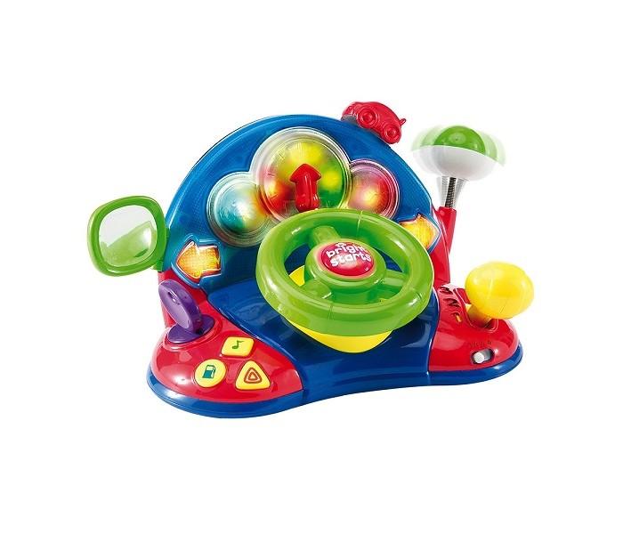 Развивающая игрушка Bright Starts Маленький водительМаленький водительBright Starts Развивающая игрушка Маленький водитель 52178  Развивающая игрушка для малышей, с помощью которой они смогут почувствовать себя в роли водителя! Вращая руль, переключая тумблер скоростей и нажимая на кнопки, ребёнок будет радоваться реалистичному шуму двигателя, приятным мелодиям и мигающим разноцветным огонькам!  - настройте зеркало, как это делает настоящий гонщик; - смотрите, как загорается приборная панель; - катайте машинку вперед и назад вдоль дорожки; - поверните руль и смотрите не стрелку, чтобы увидеть в каком направлении вы двигаетесь; - наклоните антенну, посмотрите как она возвращается на место. - поверните ключ зажигания дял того, чтобы услышать звуки настоящего автомобиля; - поверните руль для активирования огоньков и звуков; - работает в режимах - беззвучно, тихо, громко.  Батарейки 3 шт АА в комплекте (демонстрационные) Размер игрушки: 30х19х15см<br>
