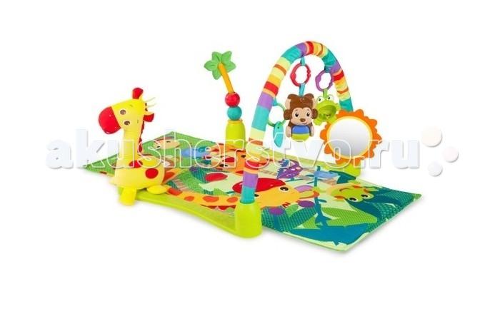 Развивающий коврик Bright Starts ДжунглиДжунглиBright Starts Развивающий коврик Джунгли 52275  На коврике малыш сможет играть долгое время! Коврик будет развивать зрение, слух, мелкую моторику и воображения малыша. Большого плюшевого жирафа можно брать с собой в кроватку.    Особенности: - Большой плюшевый жираф, которого можно брать с собой в кроватку. - Пальма с передвигающимися шариками идеально подходит для игры сидя. - Безопасное зеркальце в виде солнышка. - Обезьянка с шариком, который активирует забавные звуки и мелодии. - Листочек-прорезыватель успокоит зубки малыша. - Лягушка-погремушка с бусинами в животе. - Игрушки легко крепятся к переноске, коляске. - Можно стирать в стиральной машине.  Размеры товара: 61 х 102 х 46 см<br>