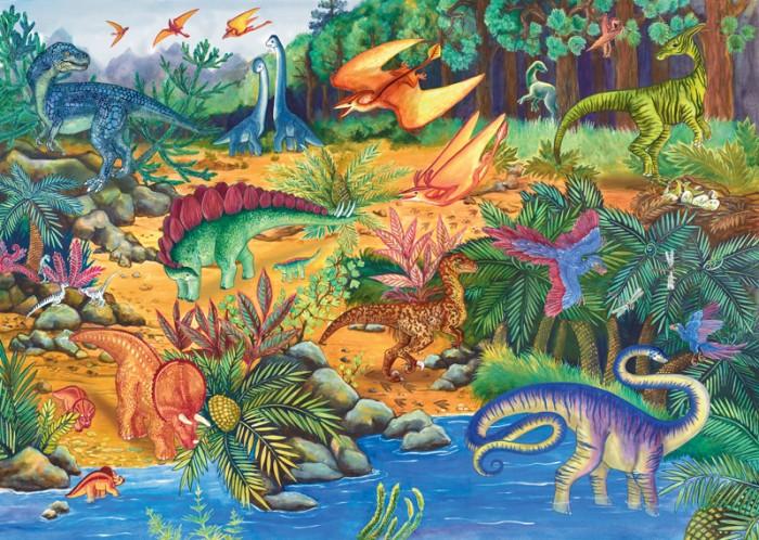 Step Puzzle Пазл напольный Динозавры 34 элементаПазл напольный Динозавры 34 элементаStep Puzzle Пазл напольная Динозавры 34 элемента  С напольным пазлом Динозавры малыш познакомится с древними видами животных! Пазл можно собирать на полу. Все детали пазла яркие, красочные, а главное – крупные. Пазл состоит из 8 игровых фигур динозавров, а также из 34 элементов различной формы. Фигуры динозавров вставляются в картинку. А еще ими можно играть отдельно. Картинку собрать совсем не сложно. Пазл сделан из прочных и качественных материалов, нетоксичных и гипоаллергенных. Он абсолютно безопасен для здоровья. Собирая пазл, ребенок будет развивать внимание, сенсорные навыки, память, моторику рук и ассоциативное мышление.  Возраст: от 2 лет Количество деталей: 34 Размер готовой картинки: 105 х 68<br>
