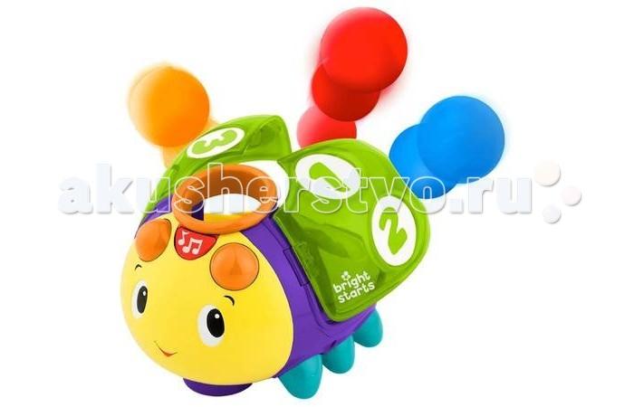 Развивающая игрушка Bright Starts Жучок 1-2-3Жучок 1-2-3Bright Starts Развивающая игрушка Жучок 1-2-3 9309  Считай, катай и веселись! Милый жук научит малыша считать до 3-х!   Особенности:  - Брось разноцветные мячики в отверстия на спинке жука, чтобы он начал ползать.  - Жук считает мячики, которые попадают ему под крылышки, и поет забавную песню-считалочку.  - Крылышки открываются - мячики выпрыгивают.  - Когда мячики попадают в жука, они начинают вращаться под весёлую мелодию.  - Когда на пути веселого жука встречается препятствие, игрушка не останавливается, а разворачивается и продолжает ползти.   Дополнительные характеристики:  Размеры товара: 15.24 см x 19 см x 15.2 см  3 мячика (входят в комплект)  3 батарейки типа АА (входят в комплект)   Не предназначен для игры в воде!<br>