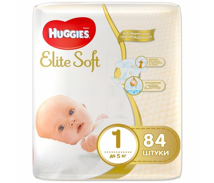 Huggies ���������� Elite Soft 1 (�� 5 ��) 84 ��.