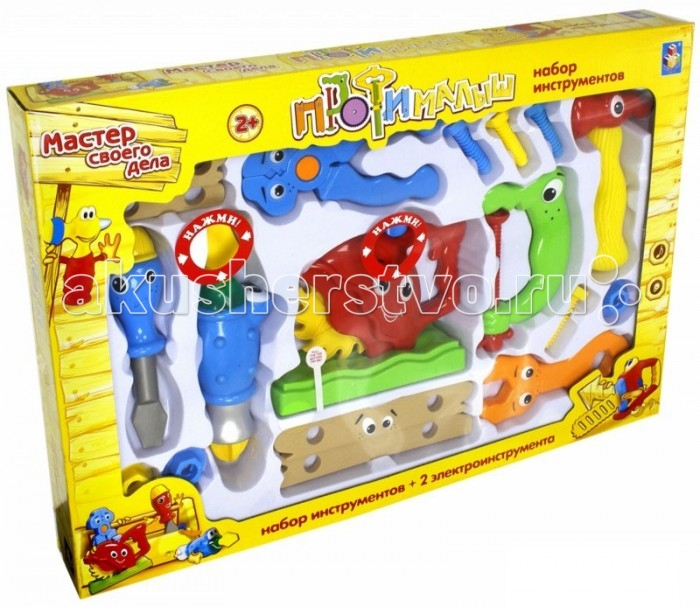 1 Toy Набор инструментов Малыш-профи 17 шт.Набор инструментов Малыш-профи 17 шт.1 Toy Набор инструментов Малыш-профи 17 шт. имеет в себе 2 электроинструмента со световыми и звуковыми эффектами и 15 пластиковых.  Особенности: В комплекте можно найти небольшую пилу, стамеску, молоточек, болты и гайки, а также некоторые другие необходимые инструменты для мужской работы по дому. Предметы хорошо детализированы и похожи на инструменты из известного мультсериала Умелец Мэнни. Звуковые и световые эффекты добавят еще больше реалистичности инструментам маленького мастера на все руки, а 3 варианта позволят ему выбрать именно то, что ему нужно.<br>