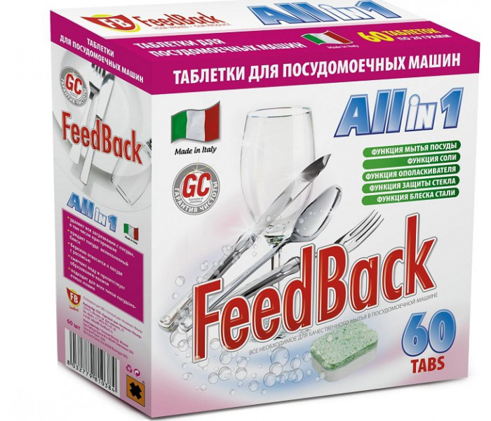 Feed Back Таблетки All in 1 для посудомоечных машин 60 шт. Таблетки All in 1 для посудомоечных машин 60 шт. 8032779-810384