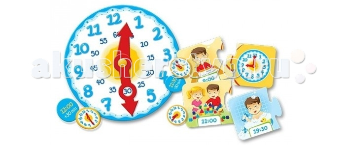 Развивающая игрушка Trefl ЧасыЧасыНастольная игра Trefl Профессии  Как научить ребенка ориентироваться по часам? Все просто: нужно подарить ему креативный пазл «Часы». Он представляет собой необычные часы, где цифры изображены на небольших пазлах. Детали легко отделяются от основной конструкции, и перед ребенком вырастает важная миссия: вернуть все на свои места!   За время сборки он не только запомнит и научится понимать принцип работы часов, но и разовьет логическое мышление и мелкую моторику.   Яркие детали легко привлекают внимание ребенка. А необычная подача простых пазлов делает игру вдвое интереснее и полезнее. Учиться всегда проще, когда ребенку нравится сам процесс!<br>
