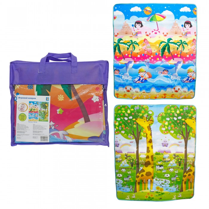 Игровой коврик 1 Toy Пляж и жираф-ростомер 150 x 180 x 0.5 смПляж и жираф-ростомер 150 x 180 x 0.5 смИгровой коврик 1 Toy Пляж и жираф-ростомер 150 x 180 x 0.5 см украшен яркими изображениями с обеих сторон.   Особенности: На одной из них продемонстрирован забавный жираф, позирующий возле усыпанного разнообразными ягодами дерева, на фоне которого теснятся другие животные.  На другой - представлена сценка пляжного отдыха, который практикует девочка, сооружающая фигурки из песка на берегу, а также другие веселые детки, подводные жители и многое другое.  Красочные картинки привлекут внимание малыша и научат отличать наземных обитателей от морских.  Размеры коврика: 150 x 180 x 0.5 см<br>