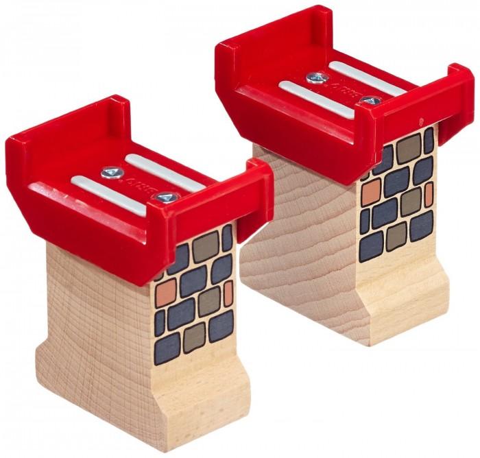 Brio Деревянные опоры для строительства мостаДеревянные опоры для строительства мостаBrio Деревянные опоры для строительства моста   Особенности: В набор входят 2 опоры, изготовленные из дерева, пластика и металла. Пластиковая часть - красного цвета.  На опорах изображены кирпичики, имитирующие мостовые столбы.  Деревянные опоры необходимы для устойчивости конструкции.  Внимание! Дизайн упаковки может варьироваться и отличаться от изображения на фото.<br>