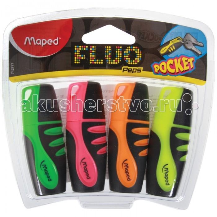 Фломастеры Maped Набор текстовыделителей Fluo Pep's Pocket 4 цвета 5 мм