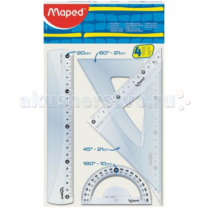 Maped Набор чертежный Start мидиНабор чертежный Start мидиMaped Набор чертежный Start миди  Средний набор из 4-х предметов:  линейка - 20 см  2 угольника - 21 см с углами 60° и 45°  транспортир - 10 см 180°<br>