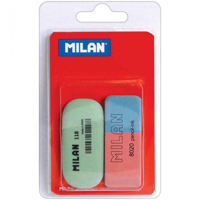 Milan Набор ластиков 8020 и 118 2 шт.Набор ластиков 8020 и 118 2 шт.Набор ластиков 8020 и 118 2 шт., натуральный/синтетический каучук, блистер  Комплект включает в себя один натуральный и один синтетический ластик для работы с цветными пигментами и чернилами.<br>