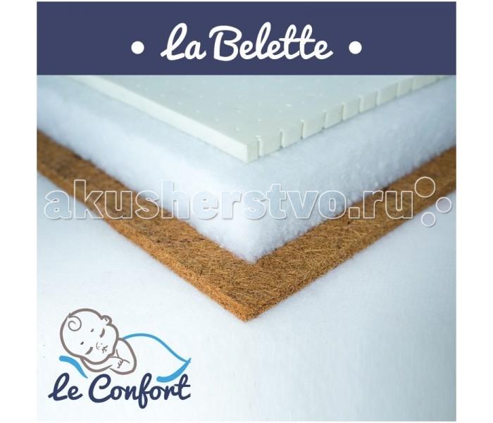 """Матрас Le Confort La Belette 120х60х14La Belette 120х60х14Детский матрас Le Confort La Belette многофункциональный ортопедический, в состав которого входит:  Кокос 2 см – (койра, волокна) относится к натуральному природному материалу-наполнителю. Влагоустойчив, отлично вентилируется, не подвержен  гниению, размножению бактерий, а также не вызывает аллергических раздражений. Идеально подходит для формирования правильных изгибов позвоночника и правильной осанки.  Холлкон 10 см  – это материал, полученный из синтетического полиэфирного волокна. Экологически чистый, нетоксичный, гипоаллергенный. Имеет высокую износоустойчивость.  Латекс 2 см  – современный наполнитель для матрасов. Гибкий и эластичный, не деформируется, экологически чистый, нетоксичный, гипоаллергенный. Имеет высокую износоустойчивость, не имеет запаха.  Съемный чехол - ткань Жаккард Люкс  Гигиеничный Воздухопроницаемый Непривлекателен для  """"пылевого клеща""""  Размер: 120 x 60 x 14 см<br>"""
