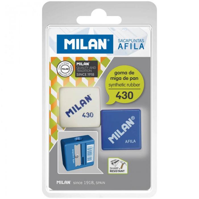 Milan Набор пластиковая точилка Afila 1 отверстие + ластик 430