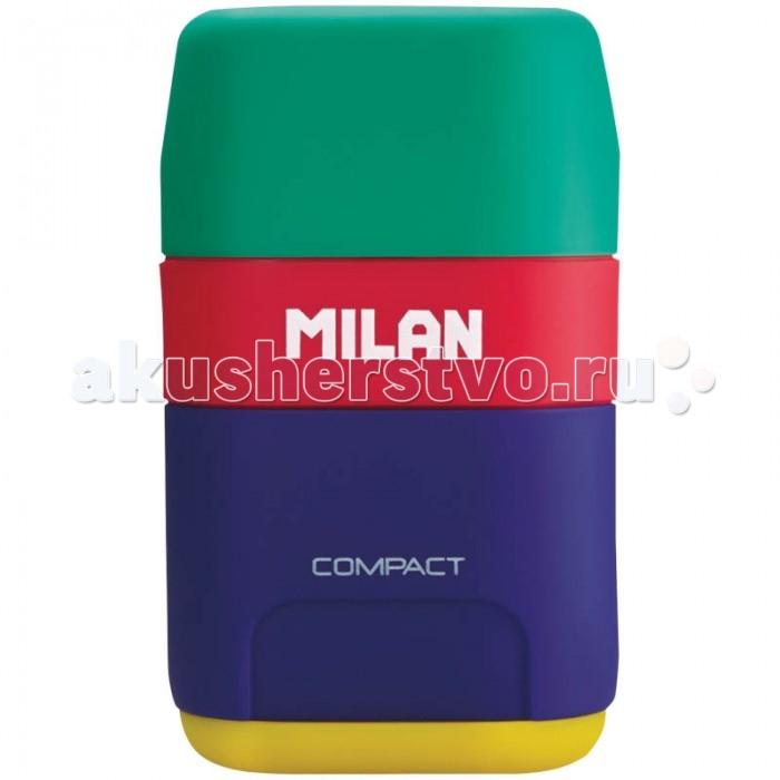 Milan Точилка пластиковая с ластиком Compact Mix 2 отверстия
