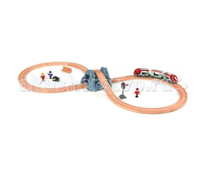 Brio Железная дорога с поездом Тоннель в гореЖелезная дорога с поездом Тоннель в гореBrio Железная дорога с поездом Тоннель в горе изготовлена из экологически чистой древесины.  Особенности: Легкая, яркая и привлекательная игрушка обязательно понравится малышу. Рассчитана на детей от 3 лет и старше, учитывает особенности развития ребенка этого возрастного периода. Комплект состоит из железной дороги в виде восьмерки, горы с тоннелем и пассажирского состава из 3 вагонов.  Фигурки (машинист и 2 пассажира), семафор с ручным переключением, скамейка и чемоданчик являются приятным дополнением.  Игрушка совершенствует мелкую моторику, расширяет кругозор ребенка.  Комплект: деревянные рельсы, 2 ведущих вагона, пассажирский вагон, 3 фигурки, гора с тоннелем, багаж, скамейка, семафор. Размер туннеля: 17 х 17 х 10 см. Высота фигурки: 5 см. Длина железнодорожного полотна: 278.4 см. Длина пассажирского состава: 28 см. Ширина колеи: 1.8 см. Вид рельс: прямые, радиальные.<br>