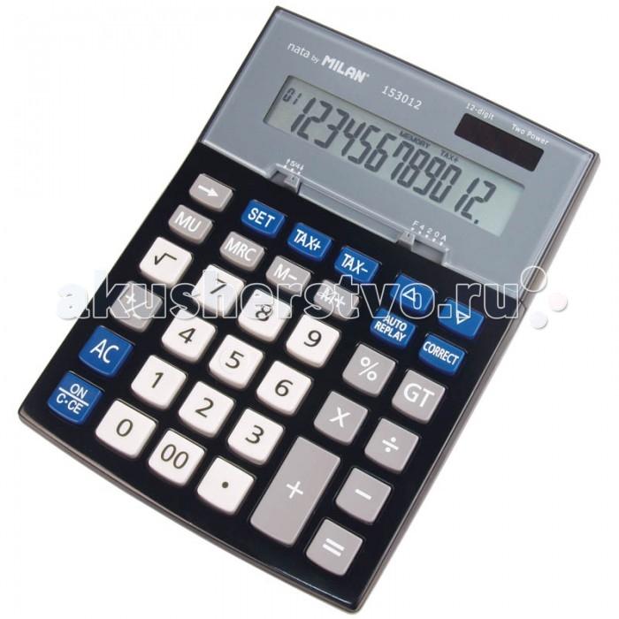 Milan Калькулятор настольный 12 разрядов двойное питание 200х151х41 ммКалькулятор настольный 12 разрядов двойное питание 200х151х41 ммКалькулятор настольный 12 разрядов двойное питание 200х151х41 мм  Настольный 12-разрядный калькулятор с металлической панелью и большими пластиковыми клавишами.   Налоговые функции,  вычисление маржи, кнопка проверки. Двойное питание: солнечная батарея и батарея 1,5V<br>