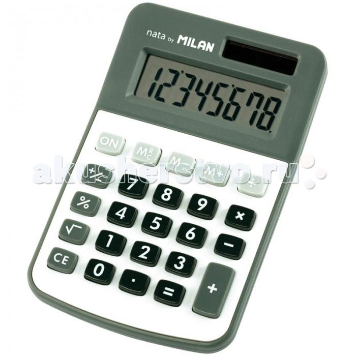Milan Калькулятор настольный 8 разрядов двойное питание 118х76х21 ммКалькулятор настольный 8 разрядов двойное питание 118х76х21 ммКалькулятор настольный 8 разрядов двойное питание 118х76х21 мм  Компактный настольный 8-разрядный калькулятор с двойным питанием: солнечная батарея и батарея 1,5V<br>