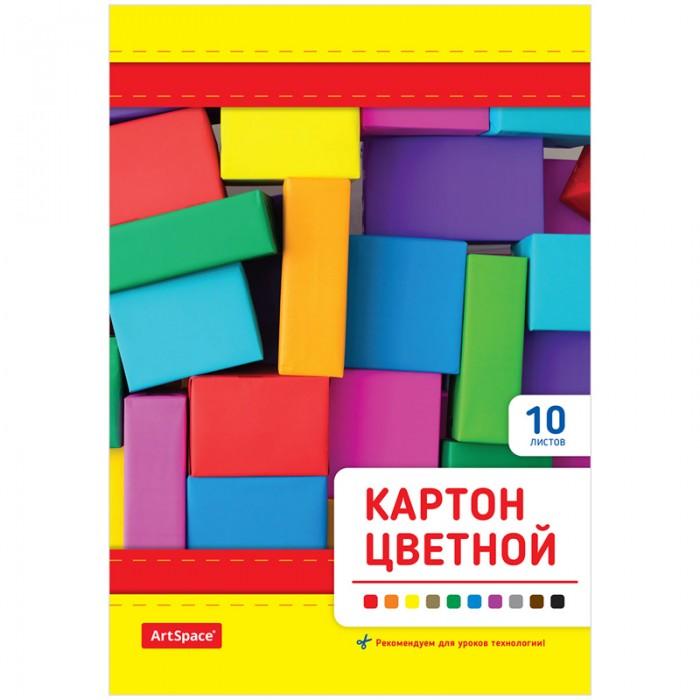 Спейс Картон цветной А5 на клею 10 листов 10 цветов