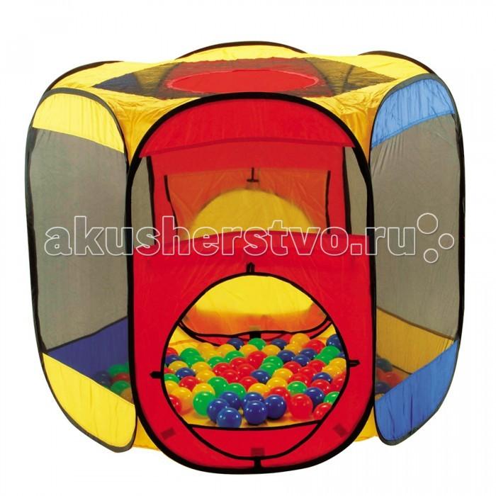 Calida Дом-палатка + 100 шаров МногоугольникДом-палатка + 100 шаров МногоугольникДом-палатка Calida Многоугольник это игровой комплекс для детей. Ребенок с удовольствием будет «купаться» в таком сухом бассейне.  В комплект входит :  Палатка 122х105х97 см  100 шарик (диаметр 7 см) Материал поливинилхлорид<br>
