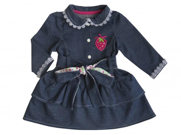 Soni Kids Платье Джинсовый садикПлатье Джинсовый садикМилое платье Джинсовый садик выполнено в приятно темно-синем цвете с использованием аркой аппликации. Так же у платья есть симпатичный пояс с цветочным принтом.  Благодаря застежкам-кнопкам, расположенным спереди, платье очень легко снимать и надевать.  Юбка двухуровневая. Платье с длинными рукавами и отложенным воротничком. На груди красуется яркая аппликация в виде красной клубнички. Длина изделия по спинке: 40 см (на 74 размер). Уход за вещами: бережная стирка при 30 градусах.<br>