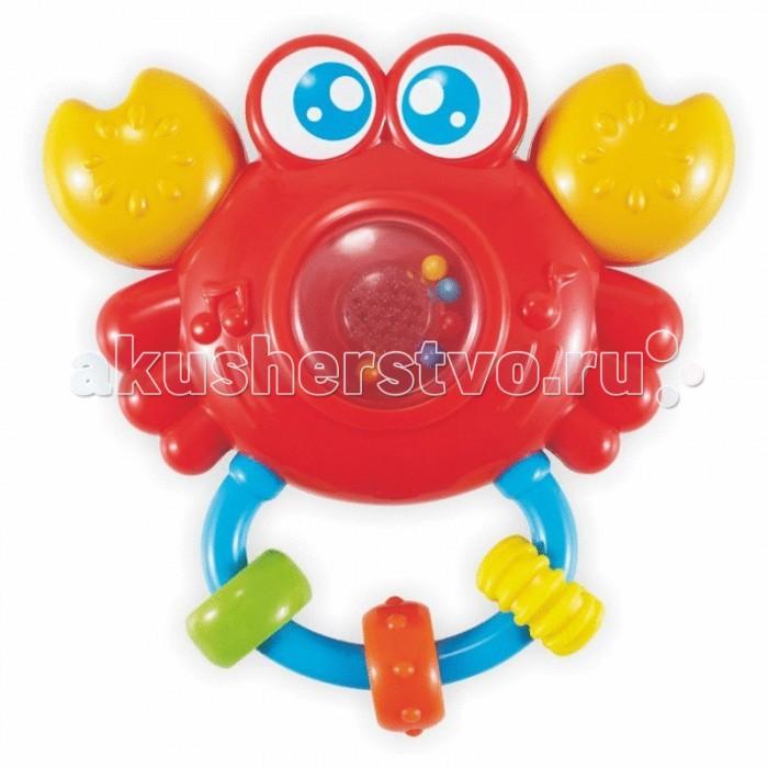 Погремушка Baby Mix музыкальная Крабмузыкальная КрабМузыкальная погремушка Baby Mix Краб оснащена различными деталями и элементами со звуковыми и световыми сигналами. Такая игрушка заинтересует как малыша, так и ребенка постарше.  Особенности: сделана из прочного, высококачественного материала сбоку находится небольшая кнопка-переключатель животик прозрачный, внутри него разноцветные шарики, создающие шумовой эффект имеет аккуратные безопасные края для работы нужны батарейки детали разных цветов стимулируют развитие зрительных способностей и цветового восприятия трогая ручками элементы, кроха тренирует пальчики и осваивает хватательный рефлекс<br>