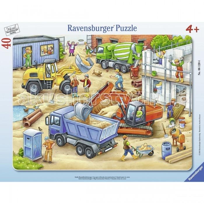 Ravensburger Пазл Большие строительные машины 40 элементовПазл Большие строительные машины 40 элементовRavensburger Пазл Большие строительные машины 40 элементов 06120  Пазл из качественного картона показывает целый сюжет на одной картинке. Основной упор сделан на большие машины, которые участвуют в строительстве, наглядно показывая, зачем нужна конкретная машина. Тут можно увидеть бетономешалку, два вида экскаватора и самосвал. На строительной площадке можно увидеть целую команду рабочих, а также собачку, случайно забежавшую на стройку в погоне за бабочкой.  Размер пазла в собранном виде: 32.5 х 24.5 см.<br>